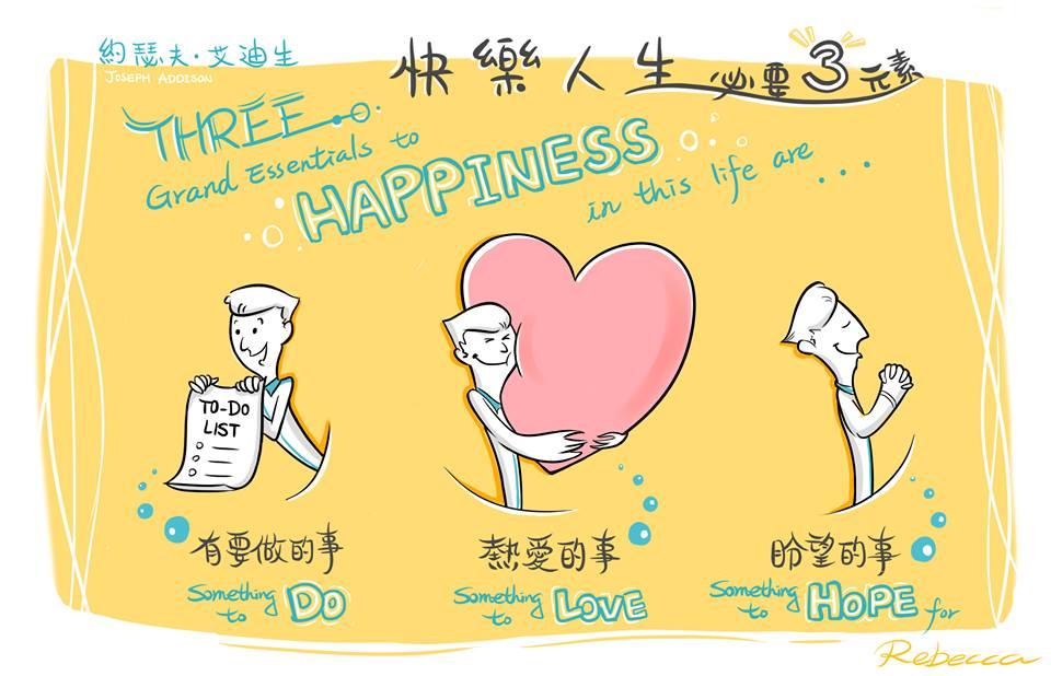 """「快樂人生的三個必要元素是,有要做的事、熱愛的事及盼望的事。」– 约瑟夫‧艾迪生 """"Three grand essentials to happiness in this life are something to do, something to love, and something to hope for."""""""